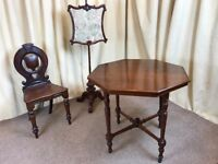 Antique Victorian Mahogany Octagon Table - Occasional Table