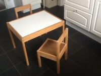 Child's table and 2 chairs. IKEA brand.