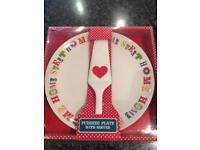 Home Sweet Home Pudding Platter & Server - Brand New