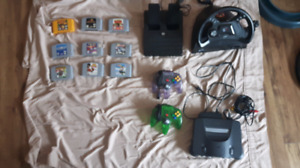 N64 games controllers steering wheel and pedals
