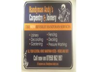 Handyman, Decorating, Joinery, Gardening, Fencing, pressure washing, Decking, property management