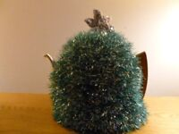 Xmas tree hand knitted tea cosy