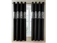 Black jacquard panel curtains
