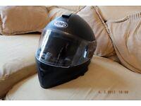 motor cycle helmet V TEC Black with integrated sun visor