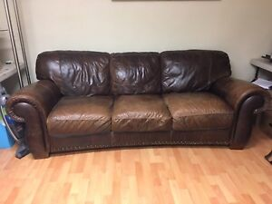 Brown Leather Couch & Loveseat