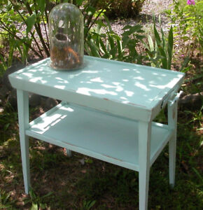 Aqua Cottage Chic Faux Tray Table