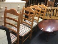 4 X pine ladder back chairs