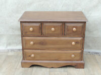 Brown stained country bedside chest of drawers (Delivery)