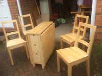 IKEA SOLID WOOD EXTENDABLE TABLE & 4 CHAIRS