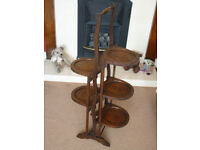 Lovely Solid Oak Edwardian/1920's Eccentric 5 Tier Folding Cake Stand/Dumb Waiter. One Family Owned