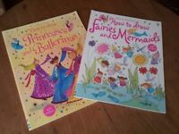 Usbourne Activities How to Draw Princess and Ballerinas & How to draw Fairies and Mermaids Books