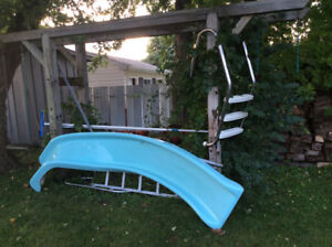 Pool Slide/Stairs/Solar Blanket with roll up wheels