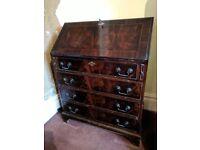 Antique bureau desk mahogany veneer