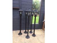 Outdoor Garden Light Lantern Post Black x 5