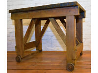 Industrial pitch pine antique table wheeled wooden wood factory vintage rustic farmhouse interior