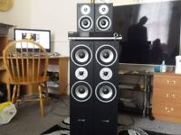 HYUINDAI MULTI CAV SPEAKERS WITH SAMSUNG AV SURROUND RECIEVER AV-R610