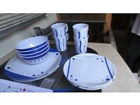 light weight cups & saucers & plates for camping or caravan.