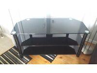 Tv unit black glass corner unit