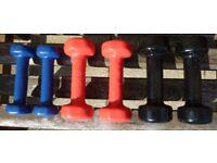 6 Hand weights/Dumbells 2 x 0.5kg, 2 x 1kg & 2 x 1.5kg