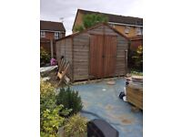 Big Garden shed treated , 10f x 8f, for bargain price ,, with extra pcs