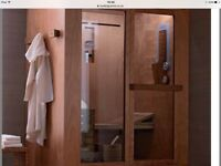 Sauna, Steam and Shower Room. Made by Ideal Standard is a sauna steam and shower room all in one.