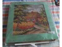New tapestry printed canvas kit. Picture is of a country house in a flowery garden.