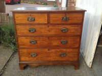 Charming antique chest of drawers with art nouveau-style handles