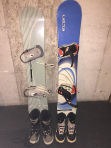 2 Snowboards and 2 Sets Pairs Of Snowboard Boots