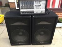 Pa speakers and powered mixer amp