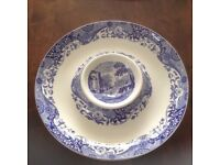 Spode Hors d'oeuvres round dish 14 1/2 in dia blue/ white