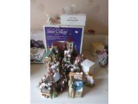 Christmas Snow village, houses , figurines and tree ornaments , job lot