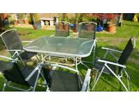 Patio Glass Table x6 Chairs.