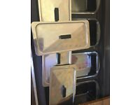 Hostess Trolley Ekco Royal used. 4 glass serving dishes stainless steel lids warming compartment