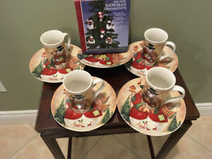 Set of 4 Christmas Cups and Saucers, bonus plate and Ornaments