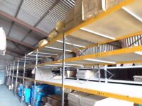 INDUSTRIAL COMMERCIAL RACKING SHELVING WITH WOODEN BOARDS & SUPPORTS