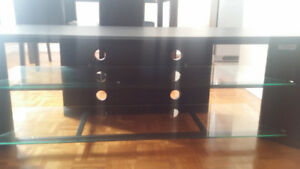 TV unit fits up to 50inch black with tampered glass