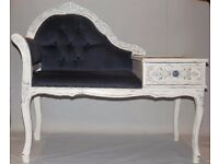 Handpainted white french style chair and table with blue and silver detailing