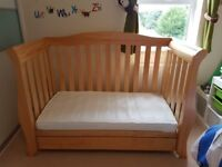 Baby Amigo Sleigh Cot Bed in Natural Finish with Drawer and Drop Side, Converts to Toddler Bed