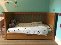 Mamas and Papas Ocean solid oak cot bed and chest or drawer set