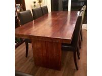 Solid wood dining table with 6 leather chairs