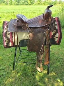 "15"" used western saddle and pad"