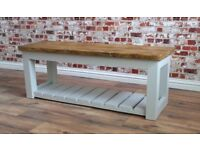 Rustic Hall Bench / Shoe Storage Bench made from Reclaimed Wood Pine Farmhouse Style