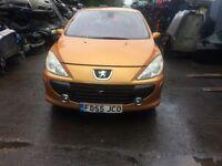 20067 Peugeot 307 SE sdr Hatchback 1.6L Petrol Orange BREAKING FOR SPARES