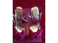 Ladies raspberry/fuschia open toe heels size 3