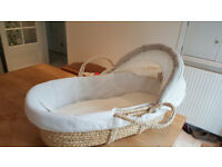 Moses basket with mattress and bedding