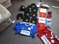 Manchester United hat socks t shirts football boots