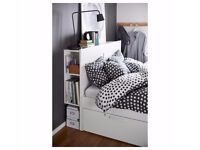 IKEA Brimnes King Bed w \fantastic storage and headboard + mattress + lamps + duvet&pillows + sheets