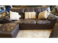 Brown Leather 3 Seater, Arm Chair and Foot Stool