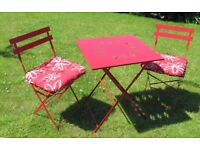 Red Metal Garden Bistro Table & 2 chairs with cushions