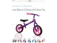 Girls pink and purple balance bike brand new in packaging and box age 2+